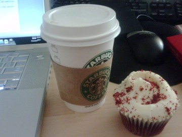Chai Tea Latte & Red Velvet Cupcake